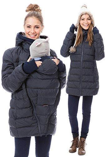 GoFuture Damen Tragejacke für Mama und Baby 4in1 Känguru Jacke Umstandsjacke Daunen Winter Noorvik GF2318XA5 Marine mit blauem Innenfutter - 3
