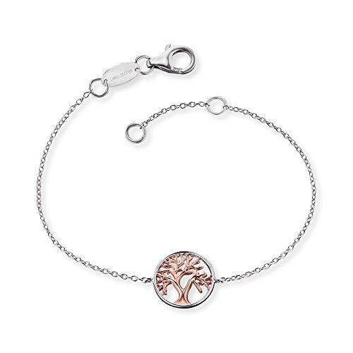 Engelsrufer Baum des Lebens Armband für Damen Bicolor Rhodiniert und Rosévergoldet 925er-Sterlingsilber Länge 16 cm + 2 cm