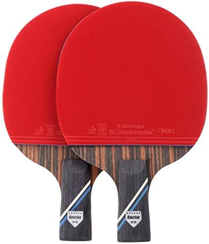 REWD Sets de Ping Pong Paleta de Ping Pong ébano y Fibra de Carbono Paleta de Ping Pong for Principiante e Intermedio / 6 Estrellas/Mango Largo (Size : Short Handle)