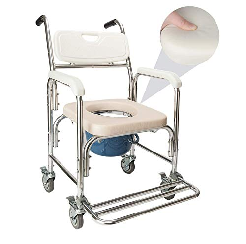 DANGRUUT Shower Chair/Bedside Commode/Wheelchair Padded Toilet Seat Shower Transport Chair with Arms, Wheels & Pedal. 4 in 1 Portable Aluminum Bath Chair for Elderly, Seniors, Disabled, Pregnant