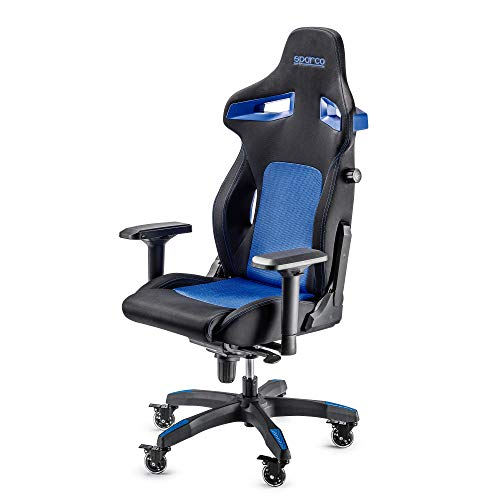 Sparco Gaming 00988NRAZ Sedia da Gaming, Nero/Azzurro