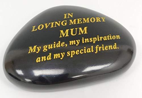 DF MUM Memorial Black & Gold Pebble Garden Ornament Stone/Rock Effect 14.5 x 10 cm