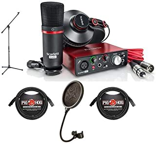 Focusrite Scarlett Solo Studio 2nd Gen 2 Input/2 Output USB 2.0 Audio Interface with Mic Preamp, HP60 MkII Headphones, CM25 MkII Mic 60 - w/Samson Pop Filter, Boom Mic Stand, 2X 10' 8mm XLR Mic Cable