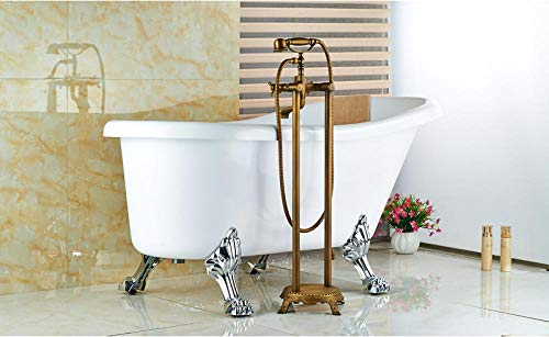 For Sale! Linyuan Dual Handles Bathroom Floor Mount Bathtub Filler Freestanding Bathtub Faucet Antiq...