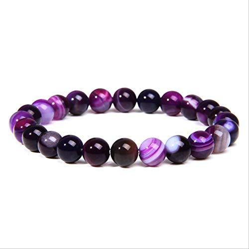 GDYX Pulsera de Cuentas de calcedonia de ágata de Amatista Natural, joyería de señora, Regalo de Pulsera de Piedras Preciosas púrpura