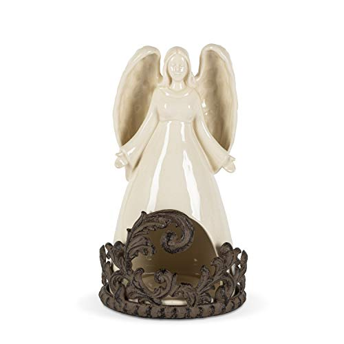 GG Collection Angel Votive with Acanthus Metal Base for Holding Tea Lights