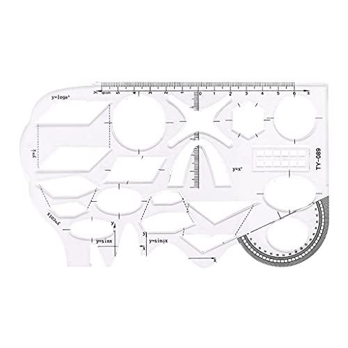 Regla de plantilla de matemáticas Plantillas de dibujos geométricos huecos Regla de medición para estudiantes Material escolar Material de oficina