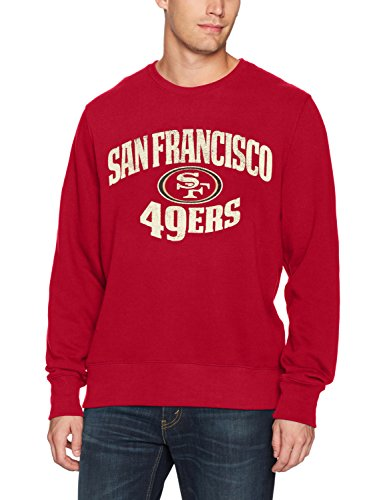 OTS NFL San Francisco 49ers Men's Fleece Crew, Distressed Marbleton, Large