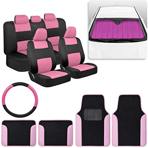 Pretty Black Pink Car Accessory Gift Set, Includes Glitter Auto Sunshade, Carpet Floor Mats, Seat Covers & Steering Wheel Cover, Holiday Combo Pack for Autos Truck Van SUV