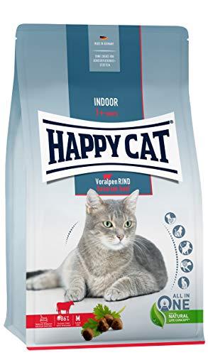 Happy Cat 70593 - Indoor Adult Voralpen Rind - Katzen-Trockenfutter für ausgewachsene Katzen und Kater - 4 kg Inhalt