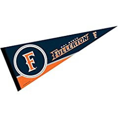 "Pennant is Full Size 12"" x 30"" and item is University Licensed and Authentic Made of Rigid Felt Blend with Sewn Pennant Stick Sleeve UC Fullerton Titans Logos and Insignias are Single Sided Screen Printed Perfect as a Wall Banner in any room at Home,..."