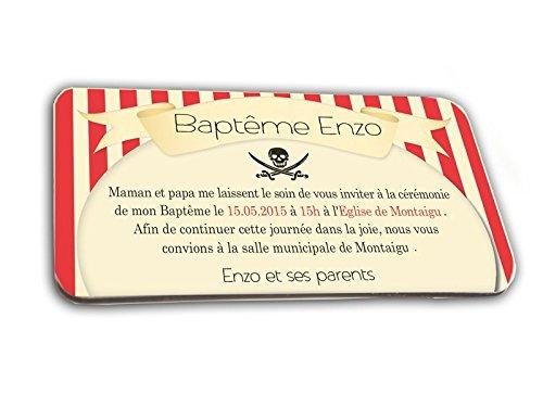 CARTE D'INVITATION en chocolat thème PIRATE personnalisée avec votre texte - pour baptême mariage communion - invitation en chocolat design et moderne rouge et noir
