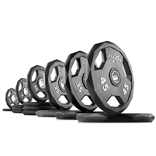 XMark Black Diamond 275 lb Set Olympic Weight Plates, One-Year Warranty, Patented Design