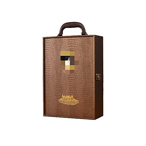 Belleashy Caja de regalo de vino doble caja de cuero de vino tinto caja de regalo de vino tinto portátil de cuero caja de vino tinto para cumpleaños y ocasión especial