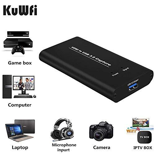 KuWFi Tarjeta de Dispositivo de Captura de Video HDMI a USB3.0 HD Conversores de Video Transmisión de Juegos Transmisión en Vivo Transmisión 1080P OBS/Vmix/Wirecast/skype