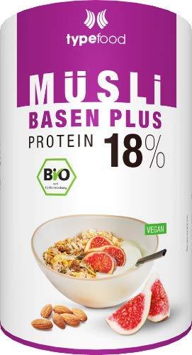 Typefood Basen Plus Müsli – 450 g, zuckerfreies Protein-Müsli mit 18 % pflanzlichem Eiweiß, mit Feigen & Mandeln, Bio Sportnahrung für Fitness, 100 % vegan & laktosefrei, made in Germany