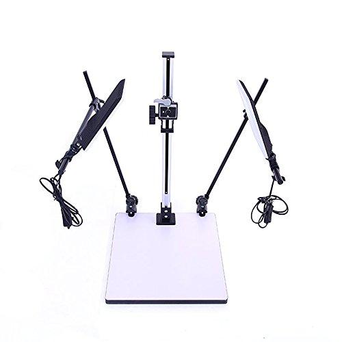 HWAMART ™ (Kopierlicht) Pro Kopierstand mit zwei Leuchten E27 A + Schnellwechselplatte für DSLR Makroaufnahme Foto Video