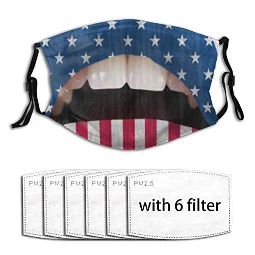ZORMIEY Face Cover USA Flag Lippenstift auf sinnlichen Lippen Mund Wiederverwendbare Anti-Staub-Mund-Bandanas mit 6 Filtern