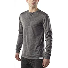 [ EVERYDAY WEIGHT LONG SLEEVE HENLEY ] Flatlock seams, tagless interior, henley neck opening for extra venting or chest hair displaying. Full merino construction for natural stretch, odor resistance, moisture wicking, itch free, 4-season comfort. [ M...