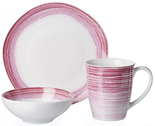Ritzenhoff & Breker Brunch- und Frühstücksgeschirr-Set Sunrise, 3-teilig, Porzellangeschirr, Pink