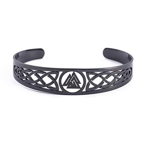 VASSAGO Pulsera de acero inoxidable con símbolo de Odin Valknut, símbolo irlandés, trinidad celta y nudo de acero inoxidable, amuleto vintage, regalo para hombres, mujeres y adolescentes