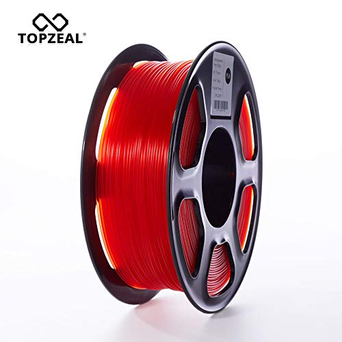 TOPZEAL 3D Printer Filament, Transparent Series Color PLA Filament 1.75mm, Dimensional Accuracy +/- 0.02mm, 1KG Spool for 3D Printer and 3D Pen (Transparent-Red)