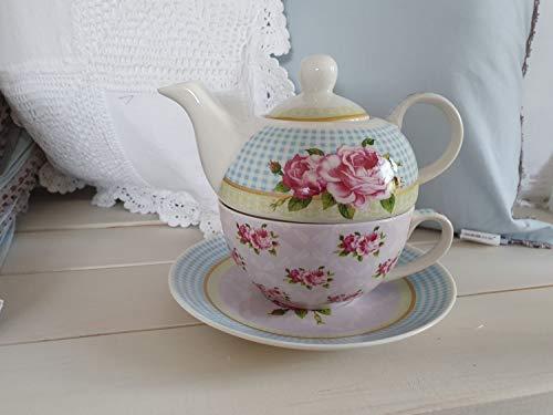 Arinosa Teekanne Rosen Blau Set mit Tasse u. Unterteller Teeservice 3 teilig Shabby Vintage