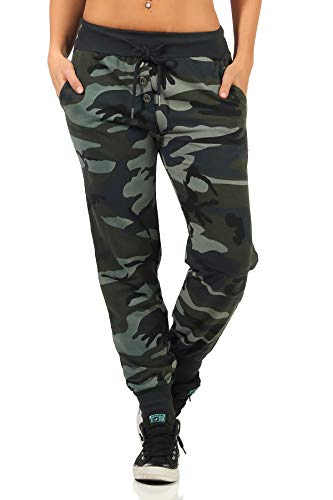 Danaest Pantalones de deporte para mujer de camuflaje (499), Ejército., S