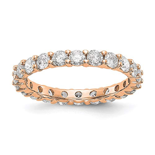 14k Rose Gold Shared Prong 2 cttw Diamond Eternity Wedding Band Ring, Size 6