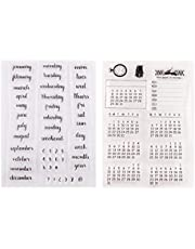 Exceart 2 Pcs Words Mixed Calendar Planner Week Month Day Clear Transparent Rubber Stamps Seal Block Stamp Sheets For Diy Scrapbooking Photo Album Diary Decor