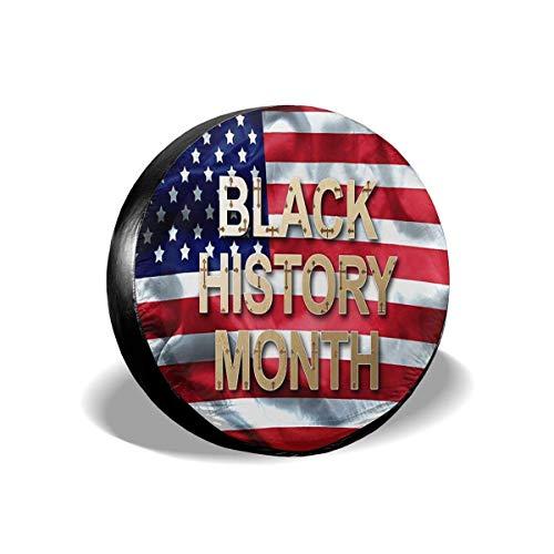 Lewiuzr Mes de la Historia Negra en la Bandera Estadounidense Cubierta de neumático de Repuesto Protector Solar de poliéster Cubiertas de Rueda Impermeables Ajuste Universal