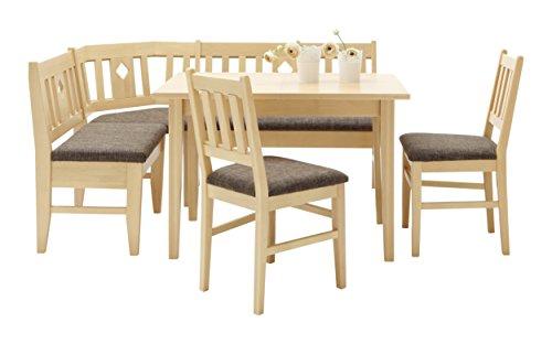 Schösswender Eckbankgruppe Aachen, Buche natur lackiert, besteht aus Eckbank, Vierfußtisch mit Auszug und 2 Stühlen, SWM_0013