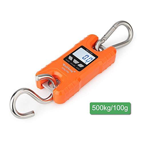 Mugghe Grúa Digital 500 kg, Resistente báscula Industrial, portátil de Mano, Mini luz Trasera electrónica LCD para Colgar balanzas mecánicas