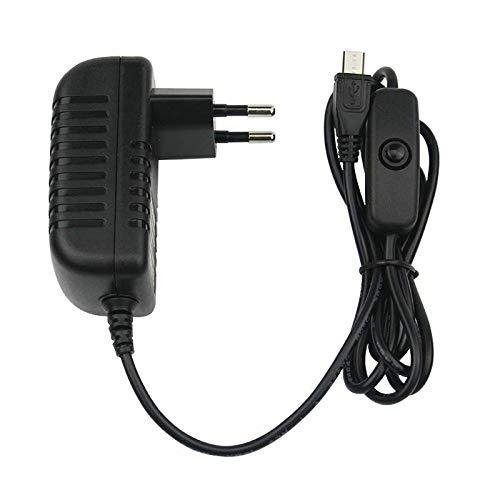 ITSTUFF 5V 3A Micro USB Netzteil Ladegerät mit Schalter für Raspberry Pi 2/3/3B/3B+ / 5V 3A Micro USB EU Stecker Adapter Charger mit EIN/Aus Schalter