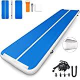 CAISHA Premium Air Track Airtrack Gymnastics Tumbling Mat Inflatable Tumble Track with Air Pump for Home Use/Gym/Yoga/Training/Cheerleading/Outdoor/Beach/Park Blue 16.4ftx3.3ftx8in(5x1x0.2m)