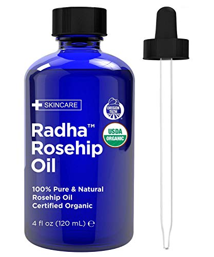 Radha Beauty Rosehip Oil USDA Certified Organic, 4 oz. - 100% Pure & Cold Pressed. All Natural...