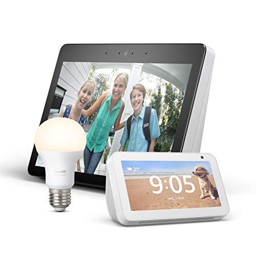 Echo Show (2ème génération, Blanc) + Echo Show 5 (Blanc) + Ampoule Connectée Philips Hue