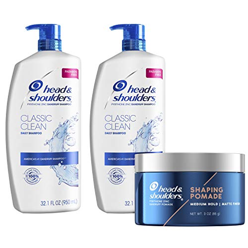 Head and Shoulders Anti Dandruff Treatment and Scalp Care Shampoo & Shaping Pomade, Classic Clean Bundle
