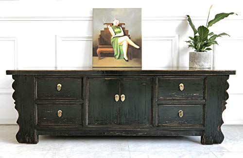 OPIUM OUTLET Chinesisches Lowboard Sideboard Kommode Büffet Anrichte grau China Shabby Chic Vintage Holz