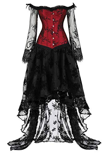 Corsets for Women's Princess Renaissance Corset Lace Ruched Sleeves Overbust Top Printing Bustier Suits X-Large Black Dress