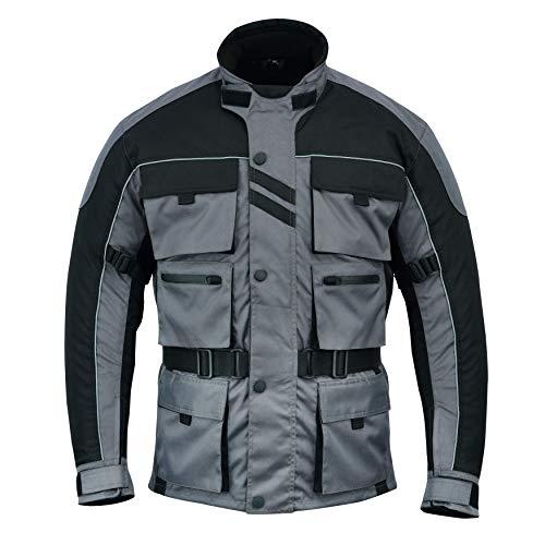 Warrior Gears® - Chaqueta de motocicleta con 6 bolsillos para hombre, diseño de guerrero, de alta visibilidad, con armadura CE | Chaquetas impermeables