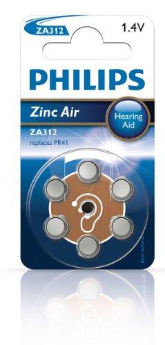 Philips ZA 312B 6A/10 312 Zinc-air, Hörgeräte Batterie, 6er Blister