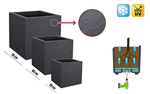 Pflanzkübel | Pflanztopf | Cube | Übertopf Stone in Anthrazit, aus robustem Kunststoff in Einer gebrochenen Stein-Optik, Verschiedene Größen (50 x 50 x 50)