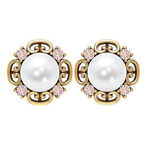 Pendientes vintage, 6,24 quilates, perlas de agua dulce de 7 mm, pendientes de morganita de 2 mm, joyas de piedras preciosas, joyas de oro macizo, pendientes de tuerca solitario, rosca trasera blanco