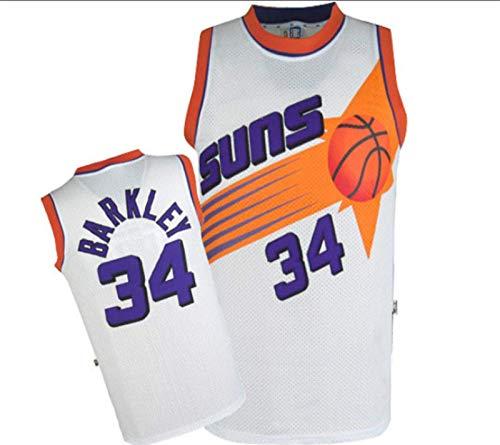 XHDH Uniforme De Baloncesto De Los Hombres, NBA Suns # 34 Barkley Jersey, Poliéster Transpirable Bordado Malla De Malla Jersey Unisex Deportes Al Aire Libre,Blanco,L 175~180cm