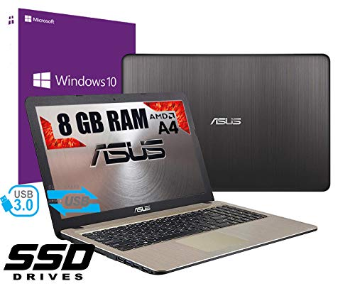 Notebook ASUS Vivobook portátil PC Pantalla de 15,6 Pulgadas CPU AMD A4 2.60 GHz /RAM 8 GB DDR4 /Ssd 480 GB /Graphics Radeon R5 /Hdmi grabadora WiFi Bluetooth /Windows 10 Profesional + Open Office