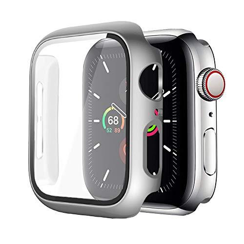 MroTech Funda Compatible con Apple Watch 42mm Serie 2 3 Case con Protector de Pantalla de Vidrio Templado Cover Incorporado Rugged PC Estuche Funda para iWatch 42 mm Screen Protector Case-Plata