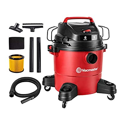 Vacmaster Red Edition VJF607PF 1101 Portable Wet Dry Shop Vacuum 6 Gallon 3 Peak HP 1-7/8 inch Hose