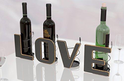 HouseVines Wine Bottle Holder, Decorative Love Letters Wine Bottle Organizers for 4 Bottles