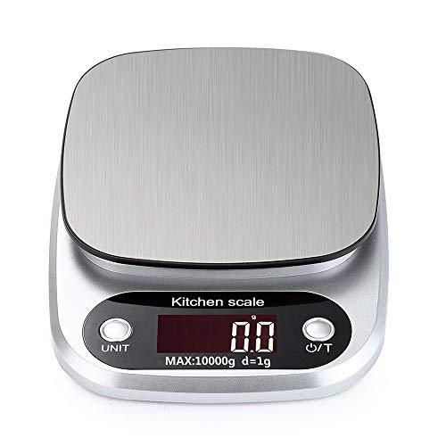 Báscula de Cocina, Smart Digital Báscula con Pantalla LCD para Cocina de Acero Inoxidable,10kg/1g Multifuncional con para Cocinando, Horneado, Dieta Saludable